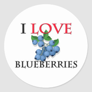 I Love Blueberries Classic Round Sticker