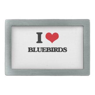 I Love Bluebirds Rectangular Belt Buckle
