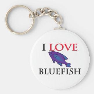 I Love Bluefish Basic Round Button Keychain
