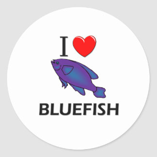 I Love Bluefish Classic Round Sticker