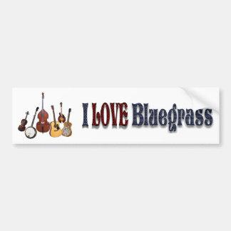 I LOVE BLUEGRASS-BUMPER STICKER CAR BUMPER STICKER