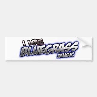 I Love BLUEGRASS Music Car Bumper Sticker