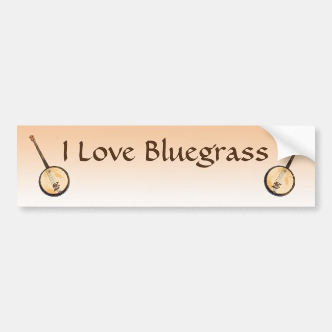 I Love Bluegrass Music Instruments Bumper Sticker