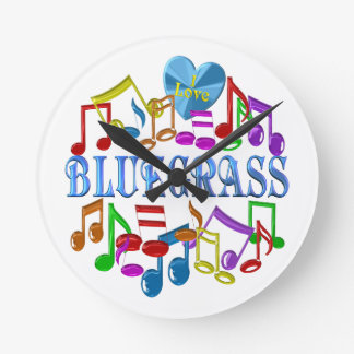 I Love Bluegrass Round Clock