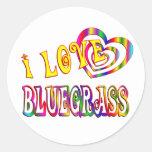 I LOVE BLUEGRASS ROUND STICKERS