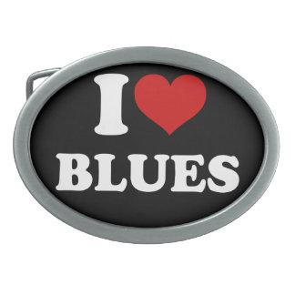 I Love Blues Oval Belt Buckles