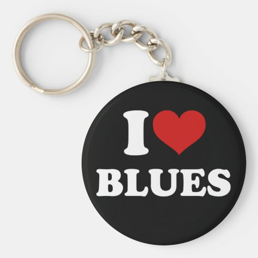 I Love Blues Key Chain