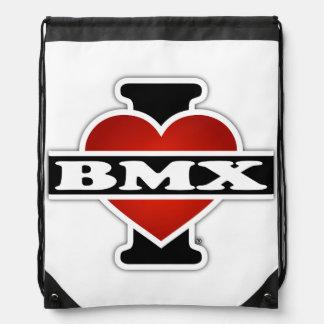 I Love BMX Drawstring Bag
