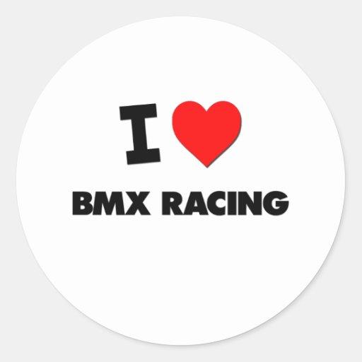I Love Bmx Racing Classic Round Sticker