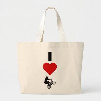 I Love BMX (Vertical) Large Tote Bag