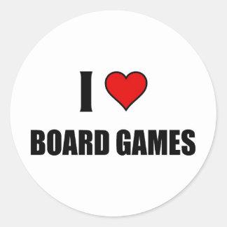 I love Board Games Classic Round Sticker