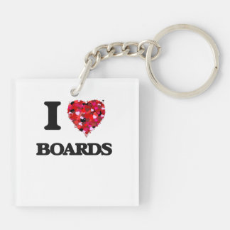 I Love Boards Double-Sided Square Acrylic Keychain