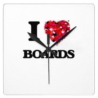 I Love Boards Square Wall Clocks