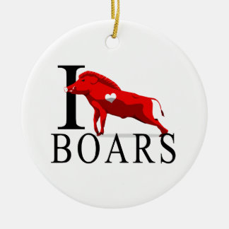 I Love Boars Ceramic Ornament