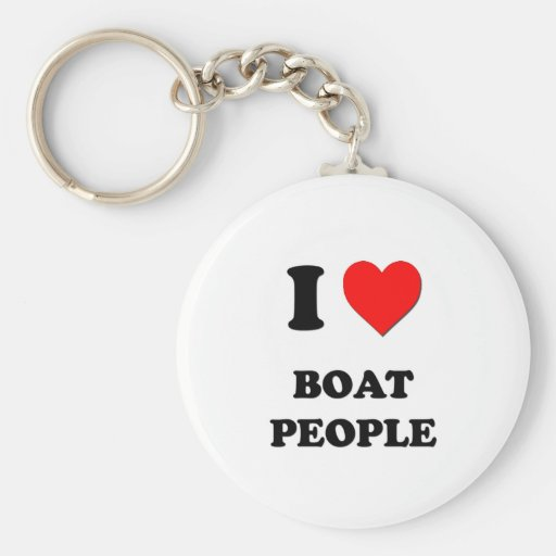 I Love Boat People Basic Round Button Keychain