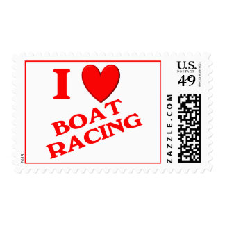 I Love Boat Racing Postage Stamps