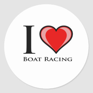 I Love Boat Racing Classic Round Sticker