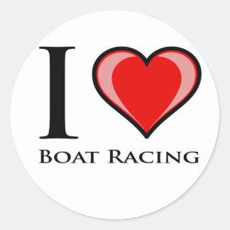 I Love Boat Racing Classic Round Sticker