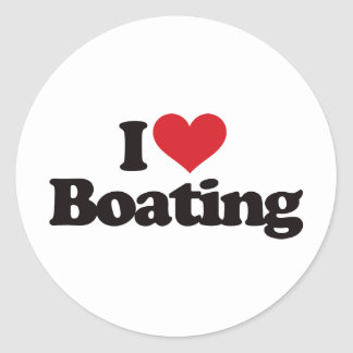 I Love Boating Classic Round Sticker