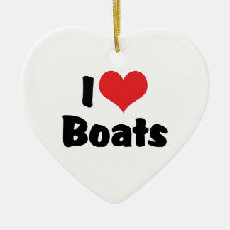 I Love Boats Ceramic Ornament