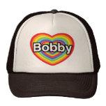 I love Bobby: rainbow heart Hats
