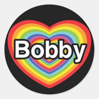 I love Bobby: rainbow heart Stickers