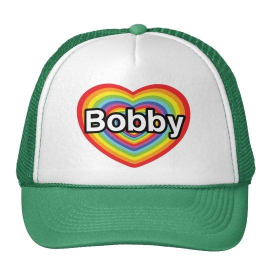 I love Bobby: rainbow heart Trucker Hat