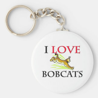 I Love Bobcats Basic Round Button Keychain