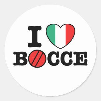 I Love Bocce Classic Round Sticker