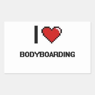 I Love Bodyboarding Digital Retro Design Rectangular Sticker