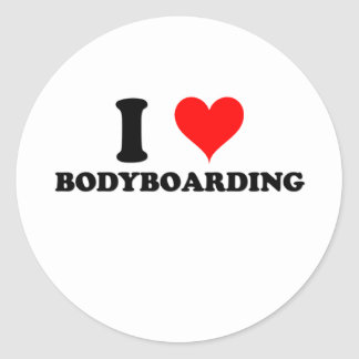 I Love Bodyboarding Classic Round Sticker
