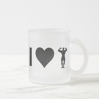 I Love Bodybuilding Frosted Glass Coffee Mug