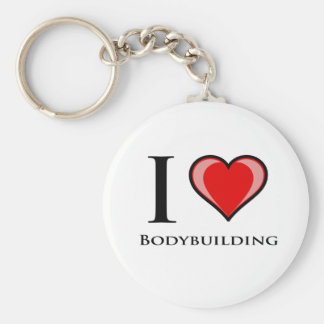 I Love Bodybuilding Basic Round Button Keychain