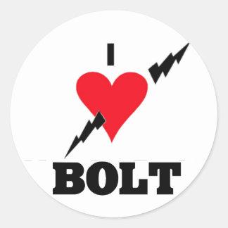 i love bolt round stickers