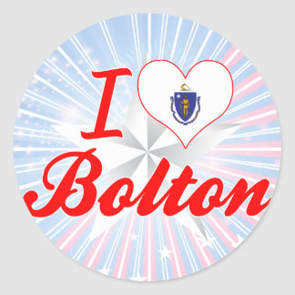 I Love Bolton, Massachusetts Round Stickers