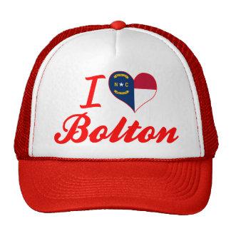I Love Bolton, North Carolina Mesh Hats