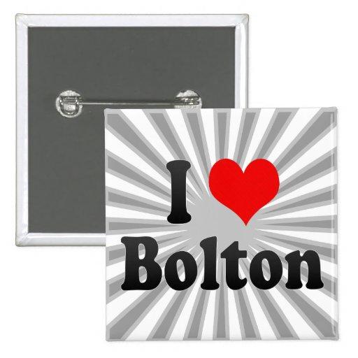 I Love Bolton, United Kingdom 2 Inch Square Button