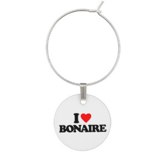 I LOVE BONAIRE WINE GLASS CHARM