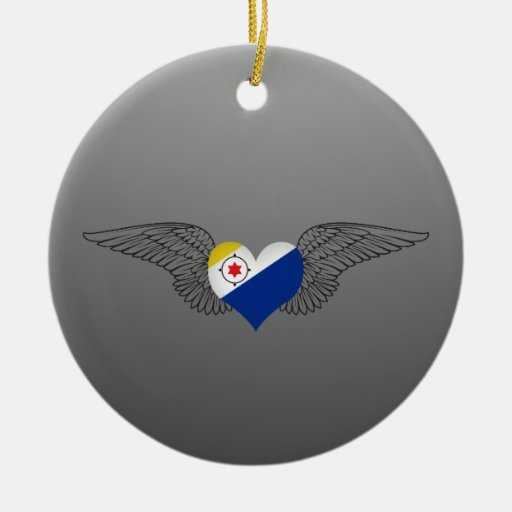 I Love Bonaire -wings Double-Sided Ceramic Round Christmas Ornament
