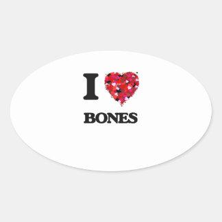I Love Bones Oval Sticker