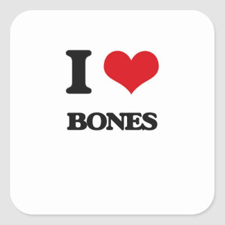 I Love Bones Square Sticker