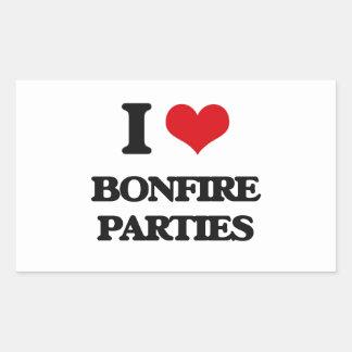 I Love Bonfire Parties Rectangular Sticker