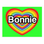 I love Bonnie: rainbow heart Postcard