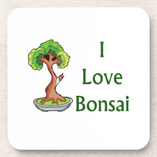 I love bonsai in green text shari tree graphi drink coasters