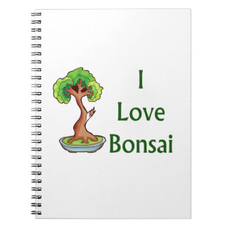 I love bonsai in green text shari tree graphi spiral notebook