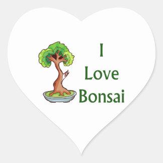 I love bonsai in green text shari tree graphi heart stickers