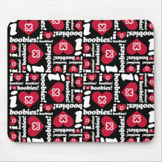 """i love boobies! """"Classic Pattern"""" mousepad- Red"""