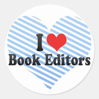I Love Book Editors Round Stickers