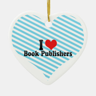 I Love Book Publishers Double-Sided Heart Ceramic Christmas Ornament