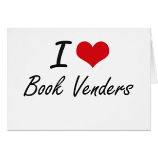 I Love Book Venders Artistic Design Stationery Note Card